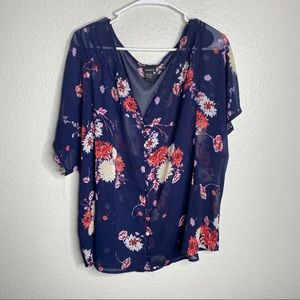Torrid Floral Button Front V Neck Blouse Flowy